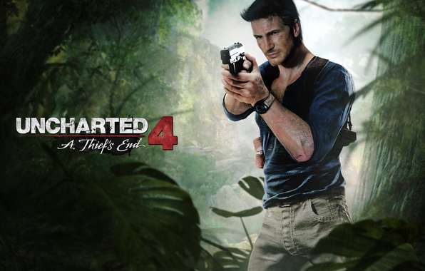 Picture gun, male, game, fan art, Nathan Drake, Naughty Dog, PlayStation, PS4, Uncharted 4: A Thief's …