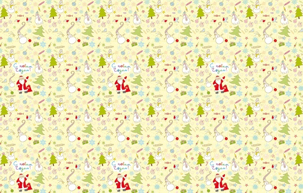 Picture background, mood, holiday, tree, texture, gifts, New year, snowman, Santa Claus