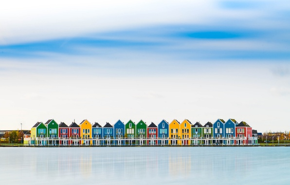 Picture the sky, clouds, the city, reflection, river, houses, Netherlands, colorful, Houten