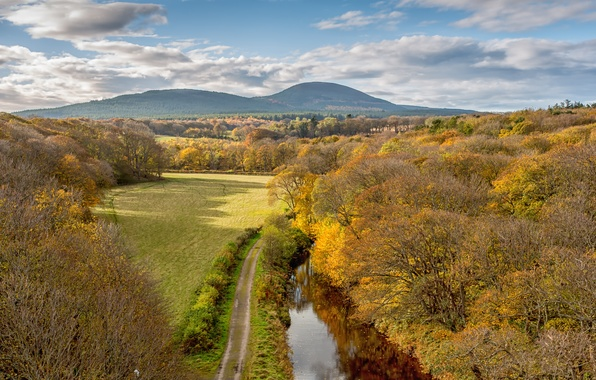 Picture road, field, autumn, forest, the sky, clouds, trees, mountains, nature, river