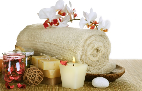 Picture flower, towel, candles, petals, soap, flower, soap, Orchid, Spa, Spa, Orchid, petals, candles, towel, Spa ...