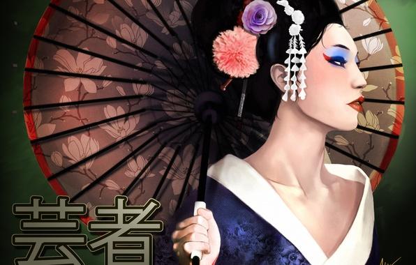 Picture girl, umbrella, art, geisha, characters, Memoirs of a Geisha
