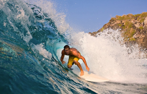 Picture grass, water, the ocean, wave, mountain, surfing, male, surfer