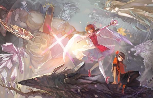 Picture girls, magic, anime, art, battle, the battle, kinomoto sakura, card captor sakura, paku, daidouji tomoyo, …