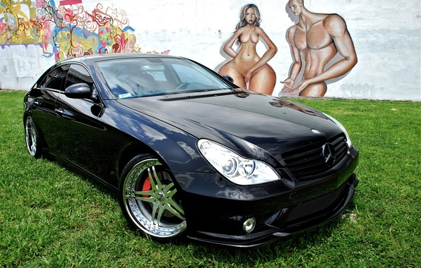 Picture grass, wall, lawn, black, tuning, Mercedes-Benz, CLS, drawings, male, grafiti, caricature, drives, Mercedes, tuning, a …