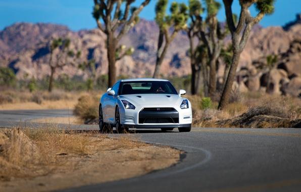 Picture Auto, Road, White, Asphalt, Nissan, GT-R, Car, The front