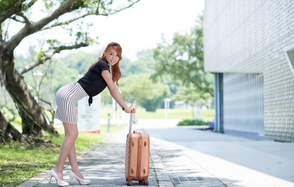 Picture look, girl, face, pose, hair, skirt, suitcase, legs, Asian