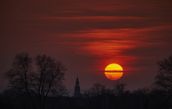 Picture forest, the sky, the sun, trees, sunset, red, glade, the evening, Germany, temple, Church