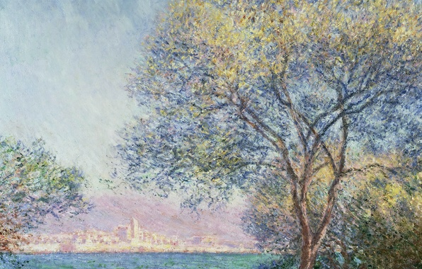 Picture landscape, the city, tree, picture, Claude Monet, Antibes In The Morning