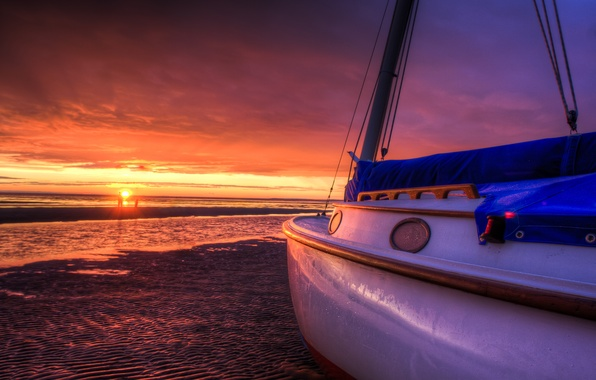 Picture sea, beach, the sky, the sun, clouds, landscape, sunset, nature, boats