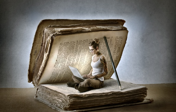 Picture woman, notebook, book, adventure