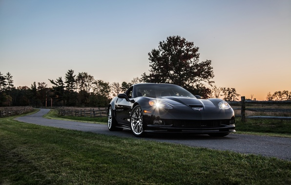 Picture road, lawn, black, the evening, corvette, Chevrolet, black, zr1, roadside, chevrolet, Corvette
