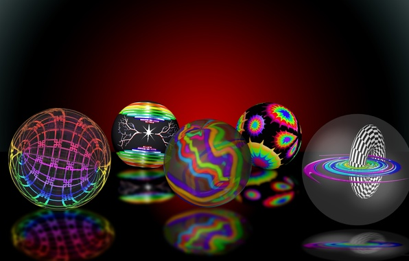 Picture reflection, background, balls, colorful