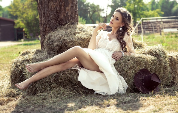 Picture summer, girl, the sun, tree, mood, hat, makeup, figure, dress, hairstyle, hay, lies, brown hair, …