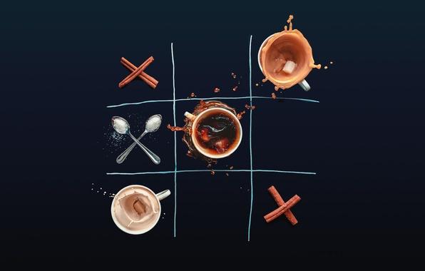 Picture the game, coffee, Cup, sugar, cinnamon, toe, TIC, spoon, Dina Belenko