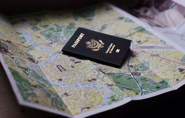 Picture map, document, passport