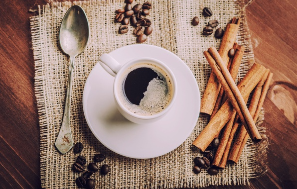 Picture coffee, spoon, Cup, drink, cinnamon, coffee beans, saucer, napkin