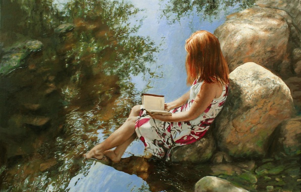 Picture girl, stones, dress, book, river, painting, reads, Ralf Heynen