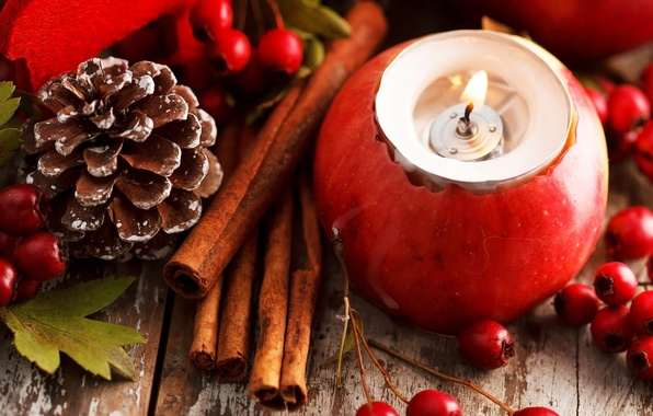 Picture leaves, berries, holiday, red, Apple, candle, sticks, New Year, Christmas, the scenery, cinnamon, bump, Christmas, …