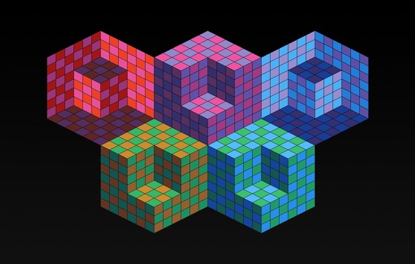 Picture color, Olympics, cube, cube, the volume, rhombus