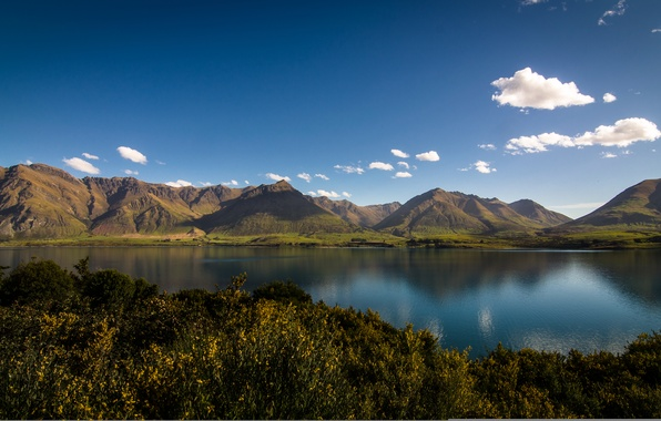 Picture mountains, lake, New Zealand, New Zealand, Lake Wakatipu, lake Wakatipu, Otago, Otago, Mount Nicholas