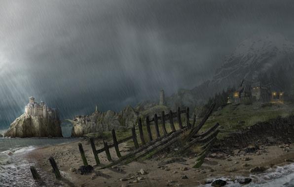 Picture castle, rain, Gothic, shore, Arcania: A Gothic Tale