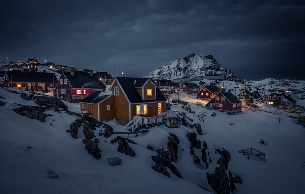 Picture snow, mountains, night, lights, home, storm, Greenland, gray clouds, Sisimiut, The Sisimiut