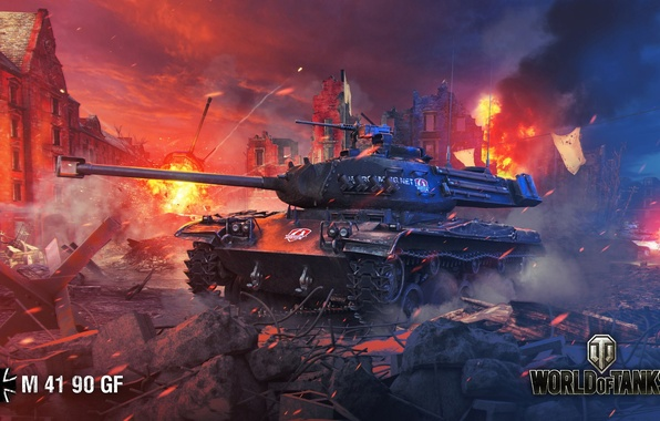 Picture night, the city, fire, smoke, the ruins, tank, German, World of Tanks, easy, M 41 …