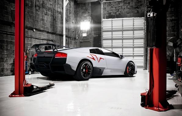 Picture white, Lamborghini, Boxing, white, Lamborghini, Murcielago, LP670-4, Lamborghini, lift, murciélago