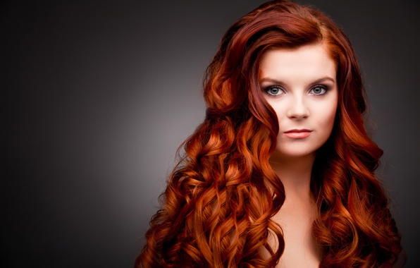 Picture look, girl, face, background, red hair, shoulders, curls, green eyes