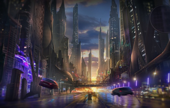 Picture road, sunset, machine, the city, future, fiction, skyscrapers, the evening, art, megapolis