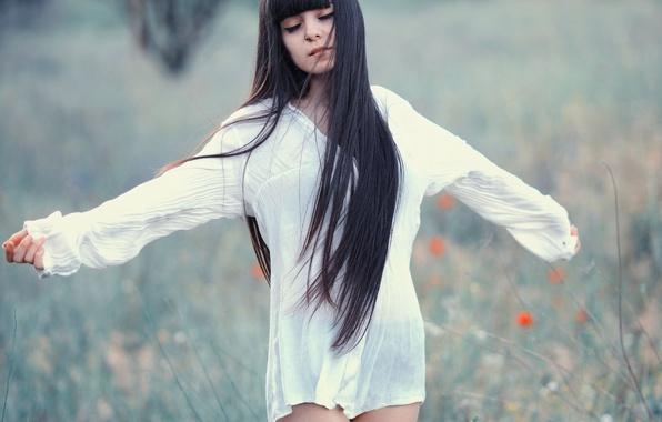Picture field, girl, background, dress, brunette, meadow, long hair