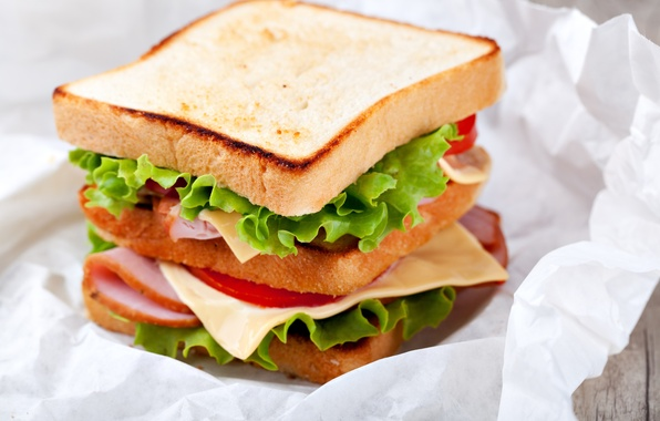 Picture leaves, food, cheese, bread, sandwich, tomatoes, salad, toast, ham