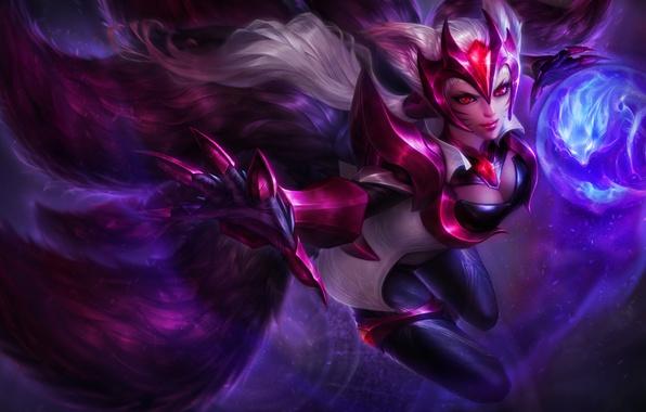 Picture Fox, lol, League of Legends, fan art, ahri, skin, Nine-Tailed Fox