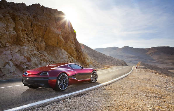 Picture road, rock, The sun, supercar, Concept One, Rimac