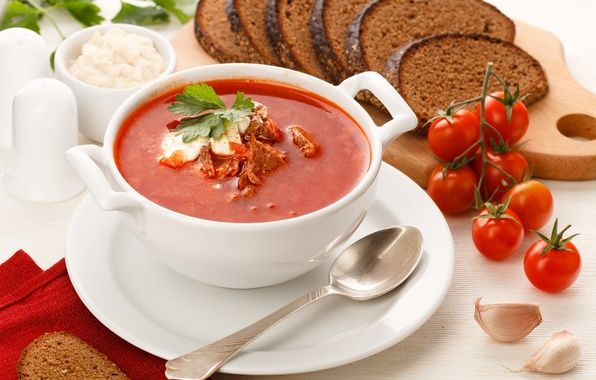 Picture black, bread, meat, tomatoes, soup, garlic, sour cream, rye