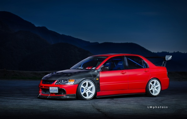 Photo wallpaper Mitsubishi, Red, Lancer, Evolution 9, Tuning, Wheels, Spoiler