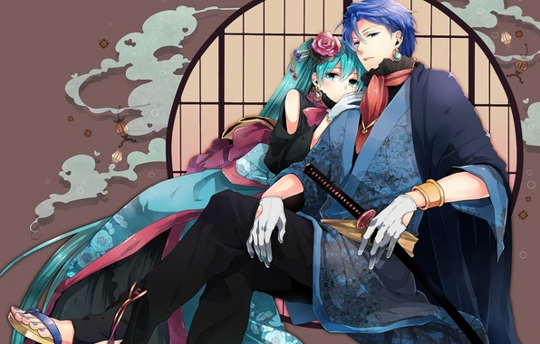 Picture girl, sword, art, guy, vocaloid, hatsune miku, kaito, sitting, irono yoita