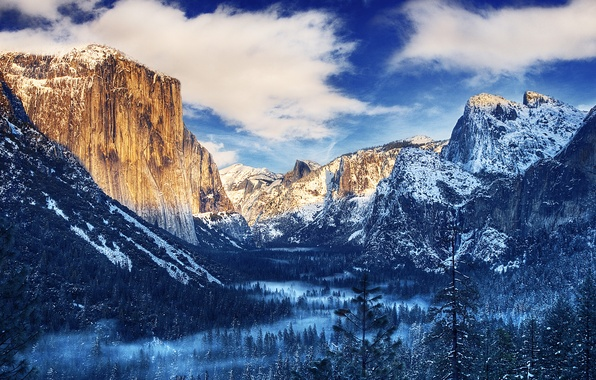 Picture winter, forest, the sky, clouds, snow, trees, mountains, fog, Yosemite, National Park, Sierra Nevada