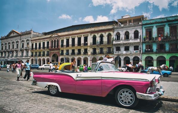Picture Cadillac, Pink, Cuba, Havana