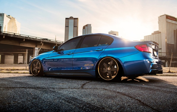 Picture BMW, blue, 335i, stance, f30