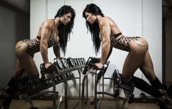 Picture photography, brunette, female, mirror, fitness, gym, bodybuilder