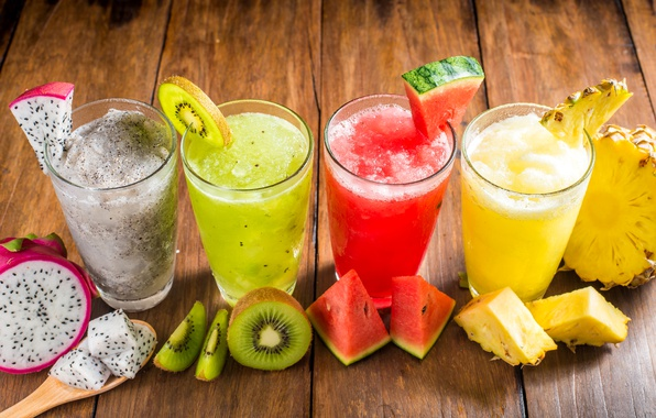 Picture watermelon, kiwi, juice, glasses, drink, fruit, pineapple, smoothies