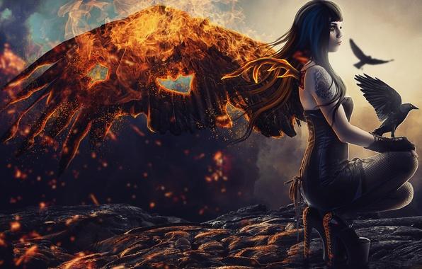 Picture girl, fire, wings, tattoo, art, lava, profile, Raven, fallen angel
