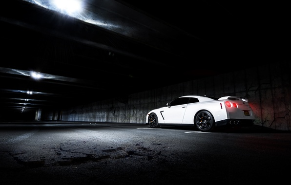 Picture white, nissan, white, Nissan, gt-r, GT-R, r35