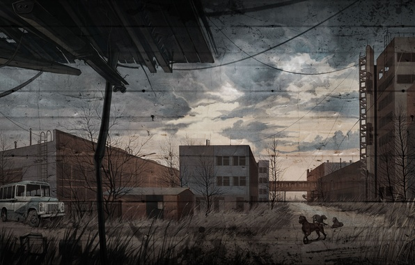 Picture dogs, figure, art, stalker, Stalker, blind dogs, S.T.A.L.K.E.R. Call of Pripyat, Call Of Pripyat, the …