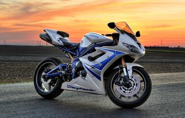 Picture white, sunset, motorcycle, white, bike, sunset, triumph, triumph, Dayton, daytona 675