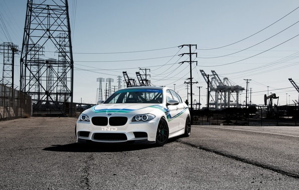 Picture white, light, bmw, BMW, white, front view, f10, day, high-voltage support, power lines