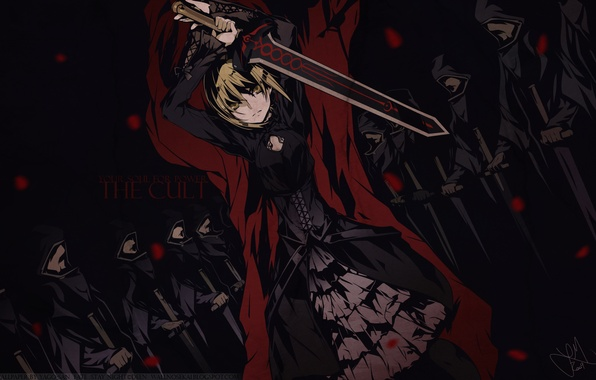 Picture look, girl, weapons, sword, Fate Stay Night