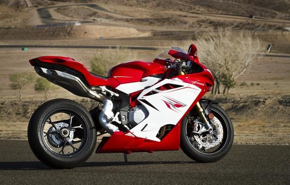 Picture red, shadow, red, side view, bike, mV Agusta, Motocykl, mv agusta